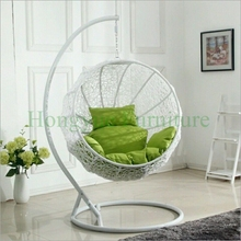 Indoor hanging white rattan chair with cushions furniture