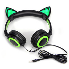 Cat Ears Headphones with LED Lights Gaming Music Headset Foldable Flashing Glowing Parade Earphone For PC Phone MP3