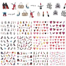 12 Designs/Sets Women Styles High Heels Water Transfer Decals Nail Art Sticker Sexy Lady Tips Manicure Nail Art BN589-600