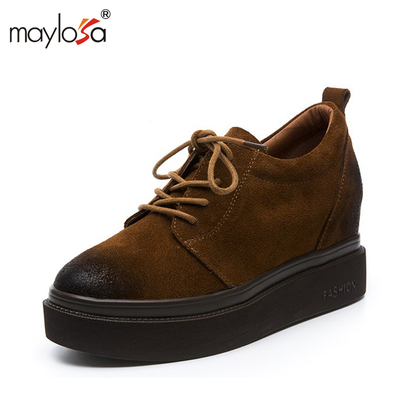 MAYLOSA Women Platform Shoes Genuine leather Height Increase Shoes  Woman  Breathable Leisure Shoes  <br>