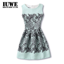 Girls Summer Dress 2017 Kids Dresses For Girls Black Flower Print 6 12 14 Years Big Size Character Dress Teenagers Girl Clo hing(China)