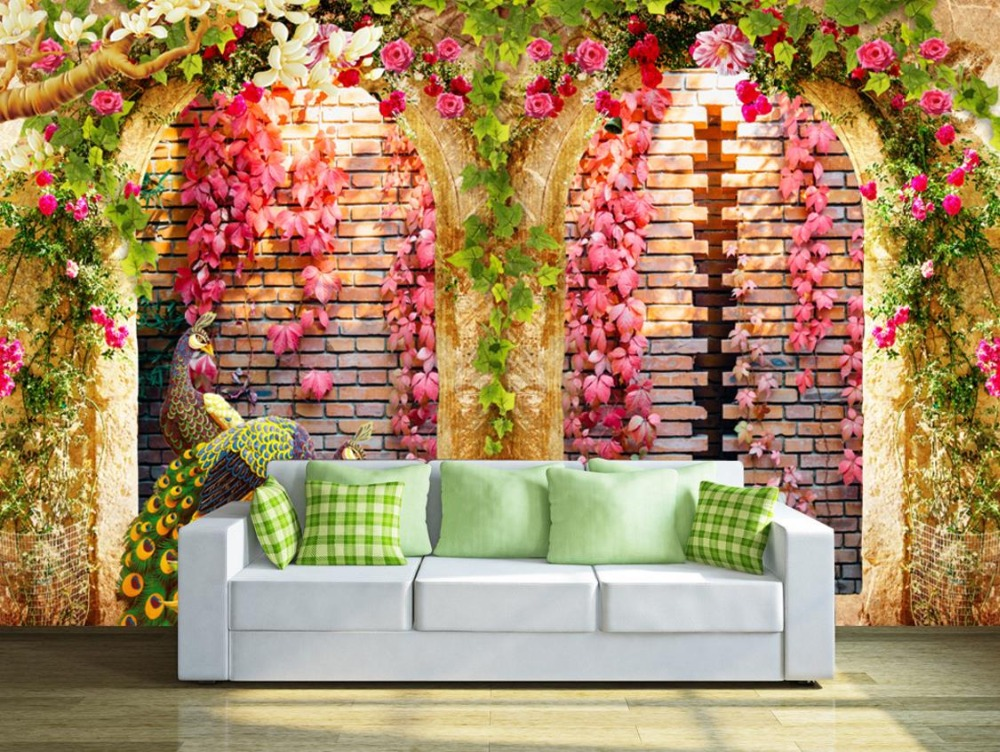 3d Customize Mural Wallpaper Flower vine arches peacock Living Room 3d Wallpaper Walls Decorative paintings <br>