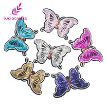 Lucia crafts 7.2*11.3cm Sequins Butterfly Patches Iron-on Sew Garment Patch Sticker DIY Applique Clothes Decoration 20010026(China)