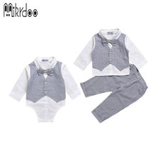 Mikrdoo Baby boy gentleman clothes set striped pants bow shirt romper suit vest fake 2 pieces turn-down collar Age 0-2 Years