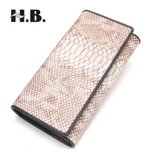 HIBO Crocodile pattern cowhide leather female wallet leather twists and turns iron hinge package fashion women handbag