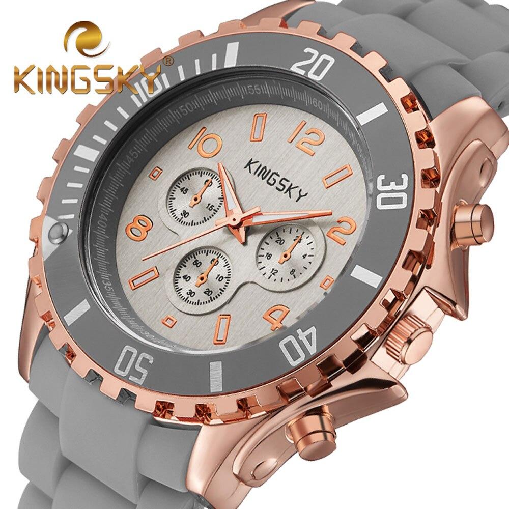 2017 Brand KINGSKY Silicone Watch Women Wristwatches Rubber Fashion Dress Watches Bracelet Business Quartz Watch Montre Femme<br>