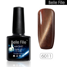 Belle Fille Cat Eye UV Gel Bling Glitter 3D Cat Eyes Color Gel Nail Polish Sook Off Magnetic Gel Magnet Effect Need Lamp To Dry(China)