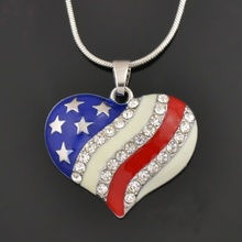 1 pcs Fashion Independence Day American USA Flag Heart Diamante Pendant Patriotic Necklace Jewelry Gift