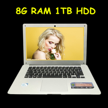 "14"" ultrabook laptop computer 8GB RAM 1TB HDD In-tel Celeron J1900 quad core 2.0Ghz WIFI camera hdmi computer(China)"