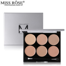 Miss Rose 6 Color Concealer Palette Facial Corrective Makeup All Round Contour Highlighter Flawless Make-up Base Corrector(China)