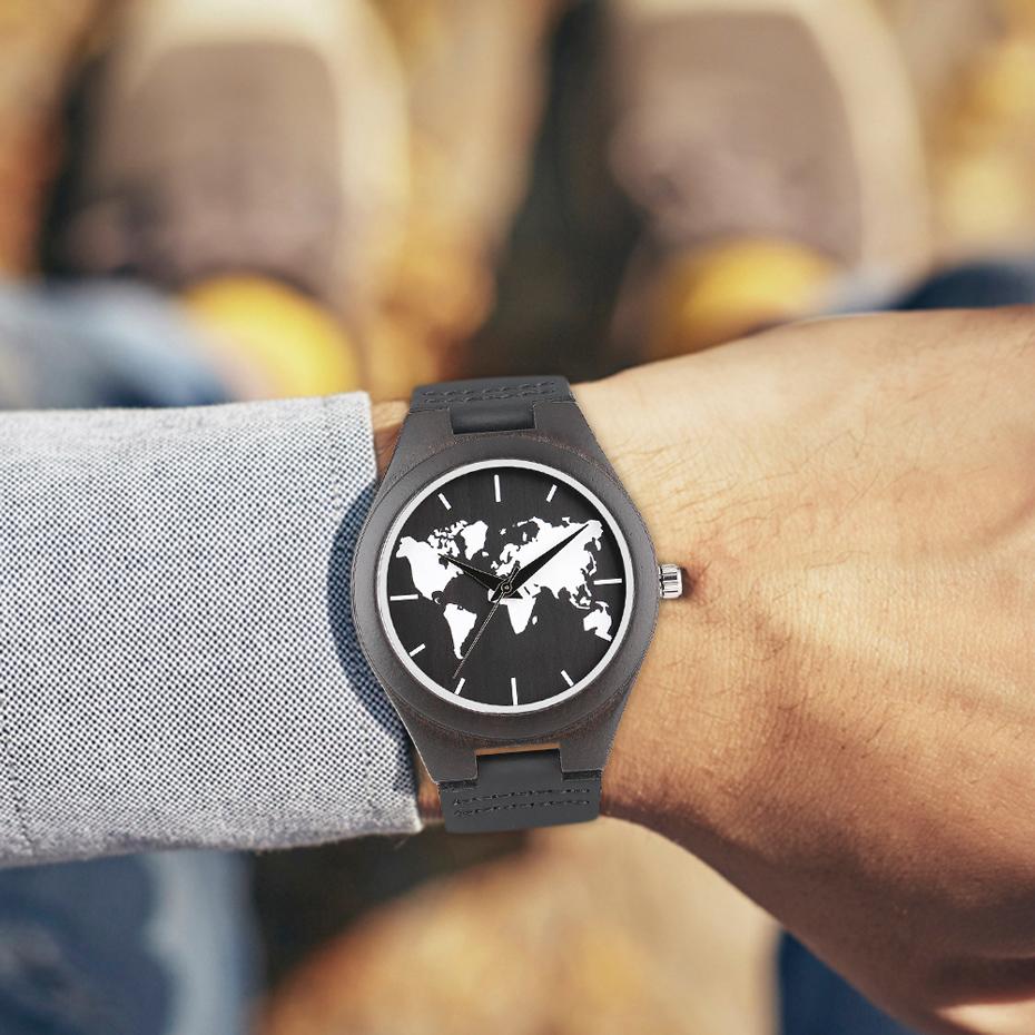 2017 Fashion Nature Ebony Wood Watch Mens World Map Handmade Black Quartz Wristwatch Minimalist Classic Bamboo erkek kol saati (15)