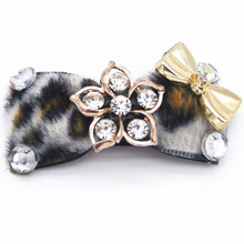Cool leopard Rhinestone Luxury Pet dog cat Hairpin hair bows dog Puppy flower Hair Clips Dog Grooming Pet hair accessories