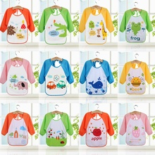 2017 Cartoon Waterproof Bibs Toddler Long Sleeve Boys Girls Bib Apron Smock Bib Burp Cloths Children Feeding Food Keel
