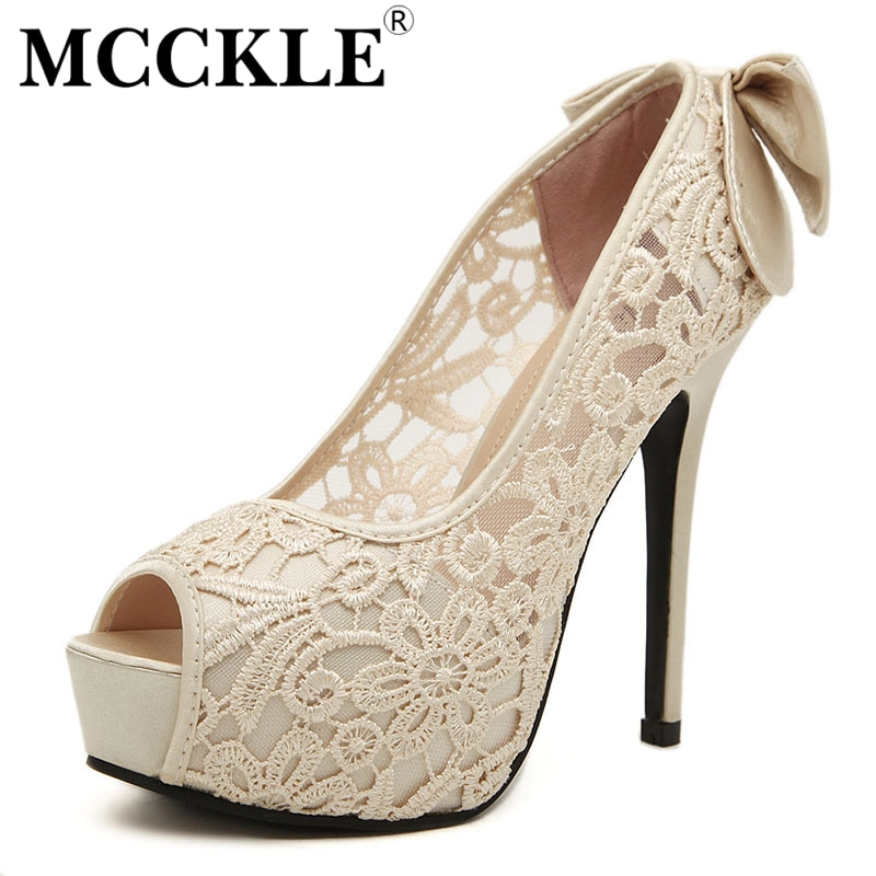 MCCKLE Womens Sexy Peep Toe Lace Party Shoes Fashion Hollow Out Platform Bowtie Pumps 2017 New Elegant High Heels Lady Sandals<br><br>Aliexpress