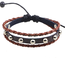 Men Stud Bracelet Leather Bracelet Women Braid Wrap Bralcet Men Pulseira Masculina Vintage Bracelet Homme Armband Bague Gothique