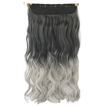 Soloowigs Wavy Grey Ombre Synthetic Hair Extensions High Temperature Fiber Women 24inch Long 5 Clip-in Hair Pieces(China)