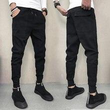 Negro Jeans hombres Slim Fit moda elástico cintura cordón otoño nueva  Streetwear hip-hop Cordero Pantalones Casual pantalones De. 4cf8eefed9d