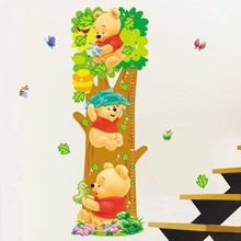 Winnie Pooh cartoon children room Trees Bear Pattern Wall Stickers Height Measure For Kids Room Wall Decal Home Nursery Decals(China)