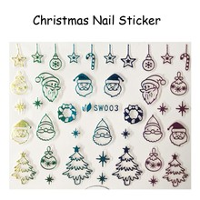 FOREVERJASMINE 24pcs Rainbow Christmas Santa Nail Art Sticker XmasTree Nail Decals Ornament Star Candy Manicure Decorations SW03