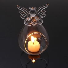1Pcs Angel Christmas Hanging Tealight Holder Glass ORB Terrarium Glass Globe Candle Holder Candlestick Wedding Bar Decor(China)
