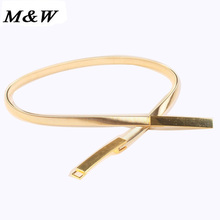 2017 Korean Fashion Thin Stretch Belt Woman All-match Gold And Silver Simply Decorated Metal Waist Chain Wholesale