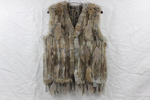 Real genuine natural knitted rabbit fur vest with raccoon fur vest women knit  fashion gilet with tassel jacket sleeveless