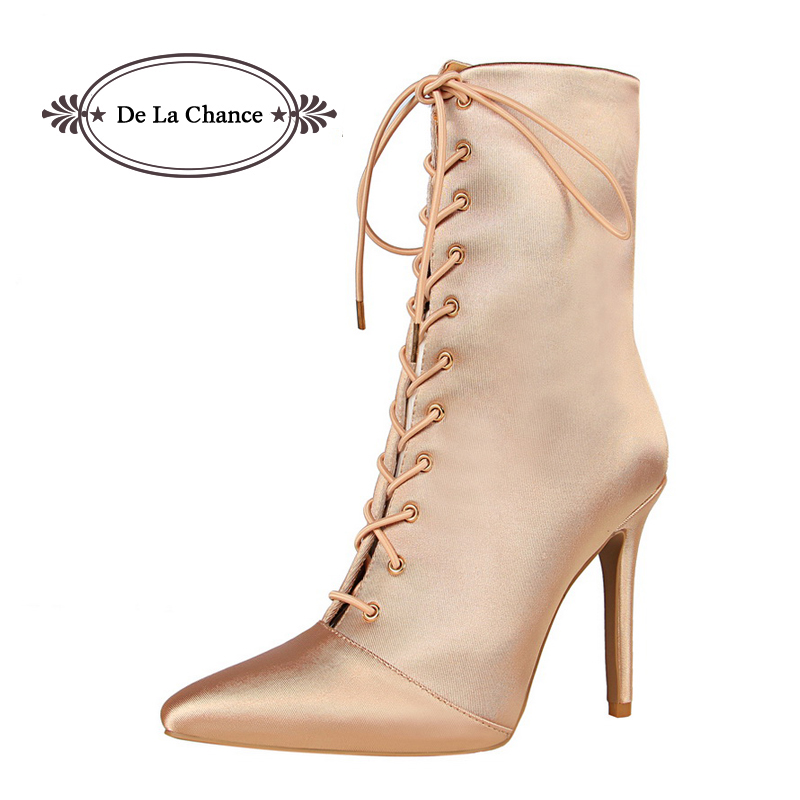Female Zip Vintage Classic Pointed Toe Lace Up High Heel Mid Calf Boots Women Fashion Sexy Stiletto Heels Sock Killer Boots<br>