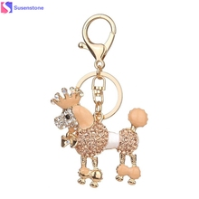 Dog Rhinestone Tassel Keychain Bag Handbag Key Ring Car Key Pendant(China)