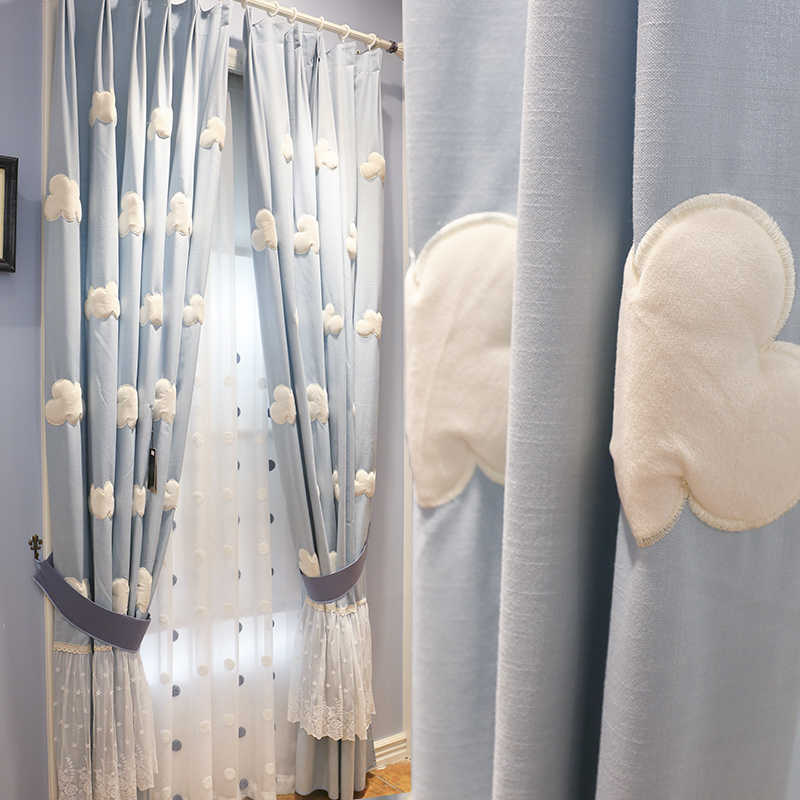 Baiyun Blue Pastoral Korean Children's Room Boy Girl Bedroom Curtain Half Shade Finished Curtain Short Window