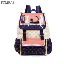 2017 fashion women backpack multicolor cat backpack high quality lady canvas backpack travel Bags