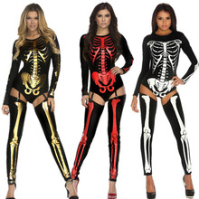 New Adult Halloween Role Playing Costume Scary Devil Witch Skull Skeleton Bodysuit Costume Women Nightclub Party Cosplay Clothes