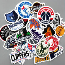 30Pcs/Lot PVC Waterproof NBA Club Logo Sticker For Laptop Trunk Skateboard Guitar Fridge Phone Decal Car-Styling Toy Stickers