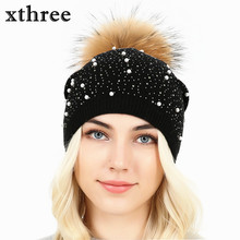 [Xthree]knitted women hat fur hats for lady beanies cap girl fur pom poms and wool knitted hat new thick female cap(China)