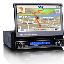 "Universal 7"" 1Din auto retractable panel Car DVD GPS navi system with DVBT 3G WiFi TV DVR RDS AM FM SWC 4X50W DJ7088"