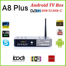 A8 plus DVB-S2 DVB-T2 S2 Android Smart TV Box HD Satellite TV Receiver PowerVu Biss key Cccam Wifi Media player iptv pvr(China)