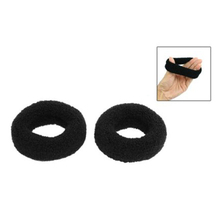 "MAKE Hot New 2Pcs Black 1.8"" Wide Soft Elastic Plush Ponytail Holder Hair Tie Band"