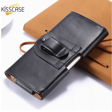KISSCASE Belt Clip Leather Cases for Samsung Galaxy S7 Case For LG G4 G3 Man Universal Bag Cover Luxury Phone Pouch Coque Capa(China)