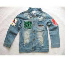 2017 Autumn Boy's Jean Coats Clearance Special Offer Kids Demin Coat Canvas Jacket Cloth For Children Kids Denim Jacket Girls O(China)