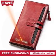 Buy KAVIS Free Engraving Genuine Leather Women Wallet Female Perse Coin Purse Portomonee Walet Lady Rfid Vallet Clutch Card Holder for $25.95 in AliExpress store