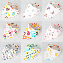 2016 New Cute Baby Bandana Bibs Cartoon Animal Print 100% Cotton Newborn Infant Girls Boys Toddler Triangle Scarf