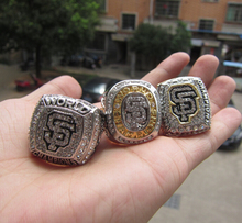 Free Shipping 2010 2012 2014 San Francisco Giants Baseball championship ring 3 together Set solid fan gift