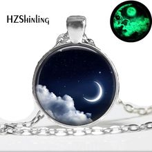 Glow in the dark jewelry moon necklace silver galaxy glass moon photo necklace Glowing Pendant Necklaces(China)