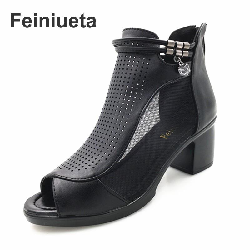 Feiniueta fashion leather womens sandals hollow mesh gauze womens shoes womens high heel shoes plus size 35--43 Woman shoes<br>