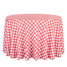 10PCS Decor Poly Plaid Printed Round Tablecloth Hotel Party Outdoor Wedding Table Cover Square Dining Table Cloths Wholesale