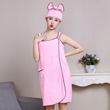 Absorbent breathable Pink microfiber girl women bath towel hair turban towel soft adult bath towel set Gift for girlfriend Wife(China)