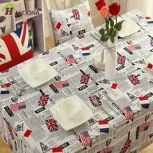 HAKOONA AMERICAN UK FLAG Table Cover Red Blue Cotton Linen Tablecloth Oblong Home Kitchen Restaurant 140*140CM