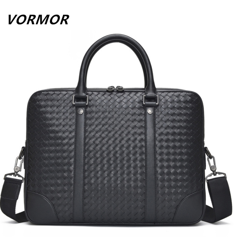 VORMOR Genuine Leather bag Business Men bags Laptop Tote Briefcase Crossbody bags Knitting Shoulder Handbag Men's Messenger Bag(China)