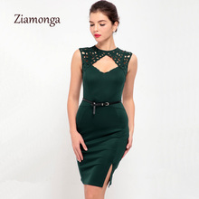 Ziamonga Green Blue Black Color Fashion Runway Cut Out Sexy Party Dresses Women Embroidery Lace Pencil Bandage Dress With Belt