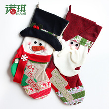 NU CHI Santa Candy Bag Gold Velvet Gift Bag Christmas Snowman  Stockings Hand Making Christmas Tree Decoration