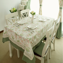 The Floral embroidery cotton cloth flowers dining table mats table pastoral tea table tablecloth with lace edge